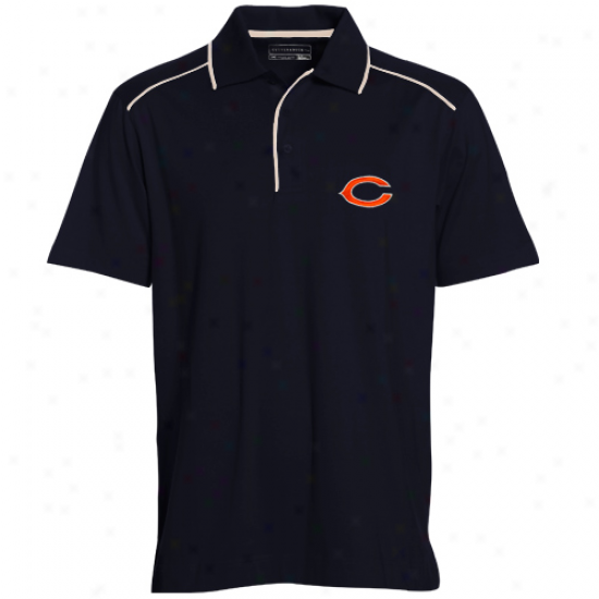 Cutter & Buck Chicago Bears Navy Blue Alliance Organic Polo