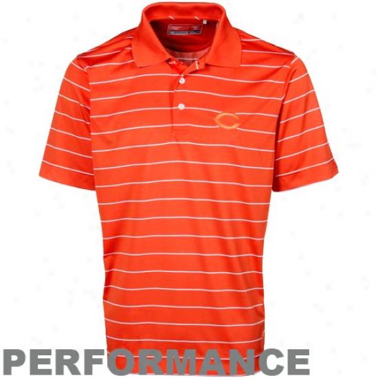 Cutter & Buck Chicago Bears Orange Sweeten Stripe Action Polo