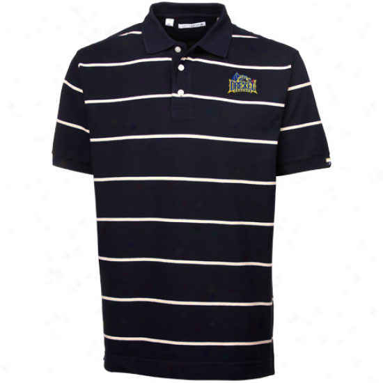 Cuttrr & Buck Drexel Dragons Navy Blue Cullen Pique Striped Polo