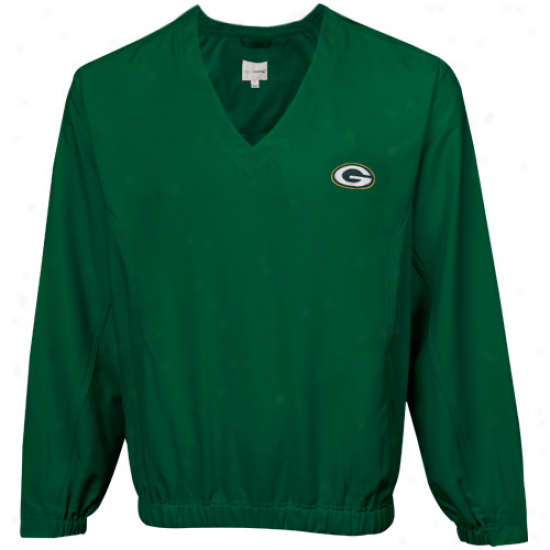 Cutter & Buck Green Bay Pacekrs Mens Shrewd Pullover Windshirt - Green