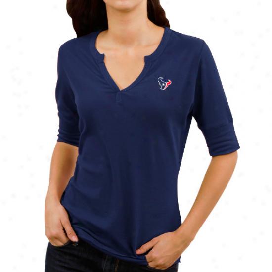 Cutter & Buck Houston Twxans Ladies Assist Waffle Knit Premium Split V-neck T-shirt - Navy Blue