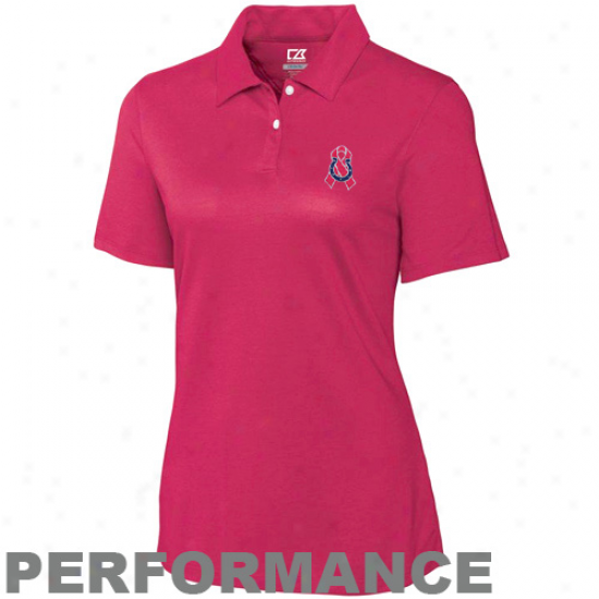 Cutter & Buck Indianapolis Colts Ladies Pink Elliott Bay Breast Cancer Awareness Performance Polo