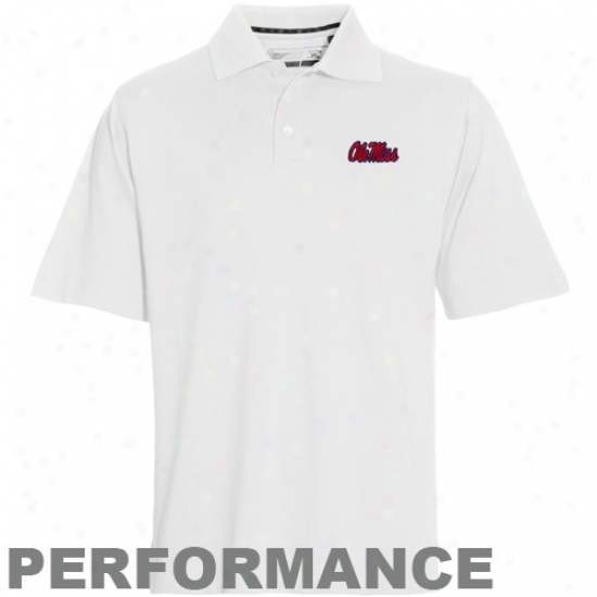 Cutter & Buck Mississippi Rebels White Championship Performance Polo