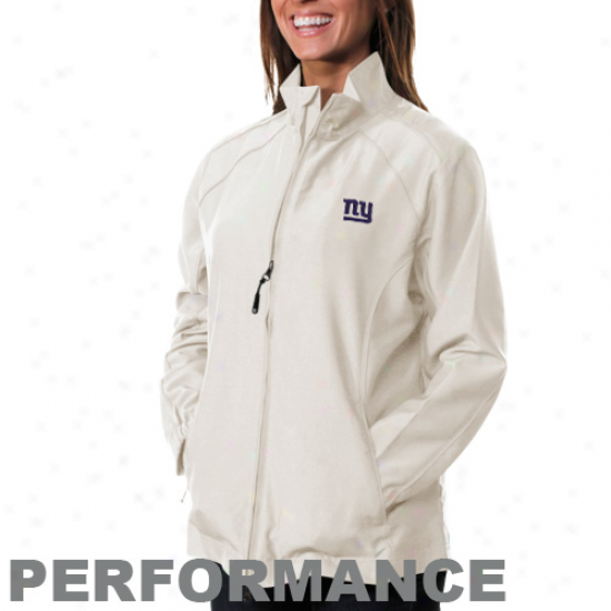 Cutter & Buck New York Gints Ladies White Astute Performance Full Zip Windshirt