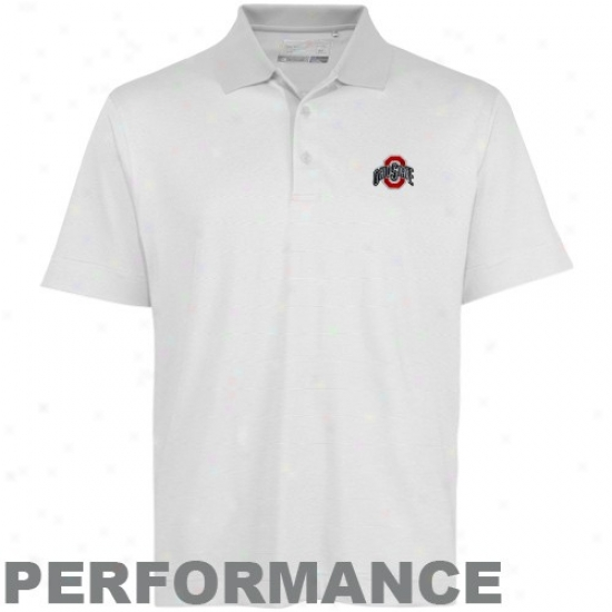 Cutter & Buck Ohio State Buckeyes White Resolute Pe5formance Polo