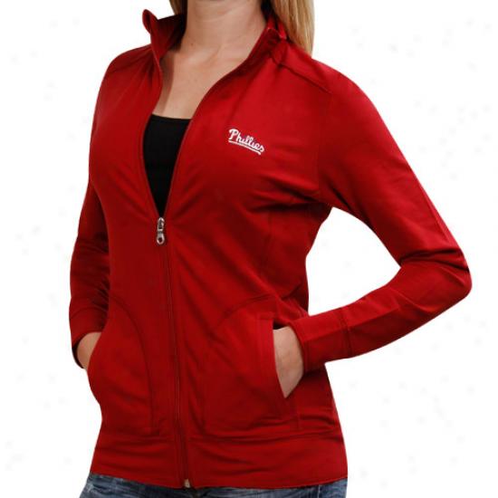 Cutter & Buck Philadelphia Phillis Ladies Ravenna Raw Edge Full Zip Sweatshirt - Red
