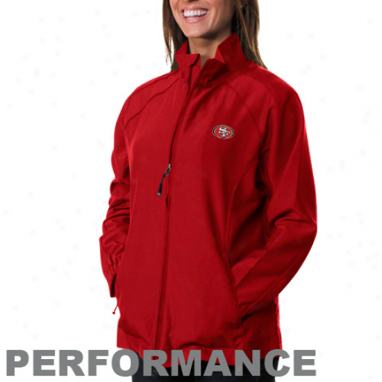 Cutter & Buck San Francisco 49ers Ladies Scarlet Astute Performance Full Zip Windshirt