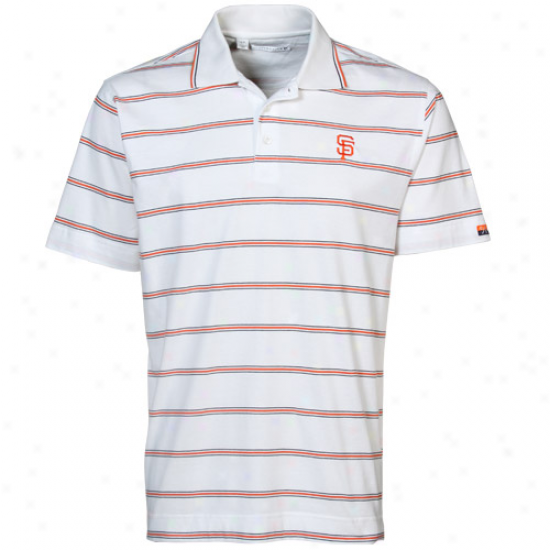 Cutter & Bucm San Francisco Giants White Griffin Bay Striped Polo