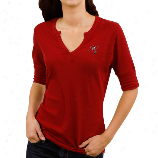Cutter & Buck Tampa Bay Buccaneers Ladies Assist Waffle Knit Premium Split V-neck T-shirt - Red