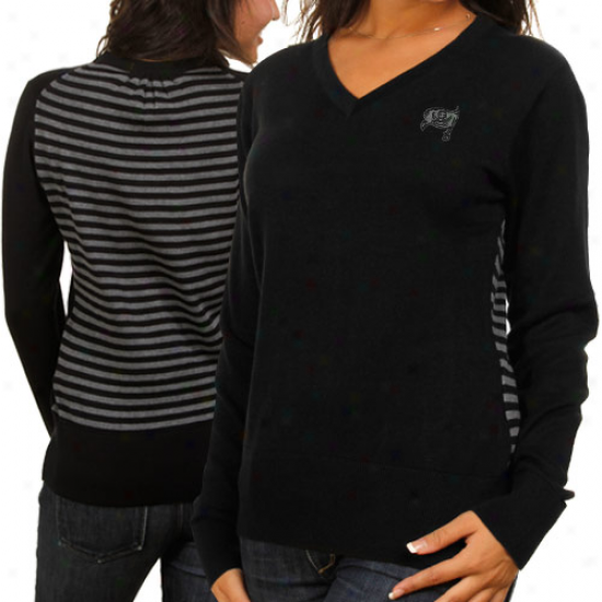 Cutter & Buck Tampa Bay Buccaneers Ladies Black Shout It Out V-neck Sweater