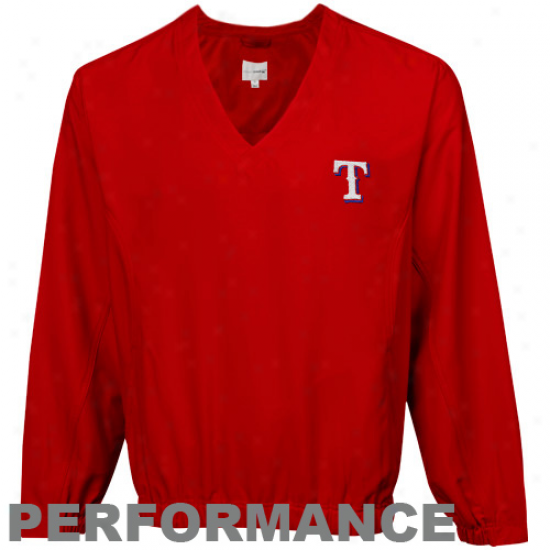 Cutter & Buck Texas Rangers Red Astute Performance Pullover Windshirt