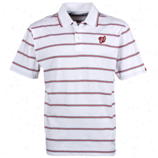 Cutter & Buck Washington Nationals White Griffin Bay Striped Polo