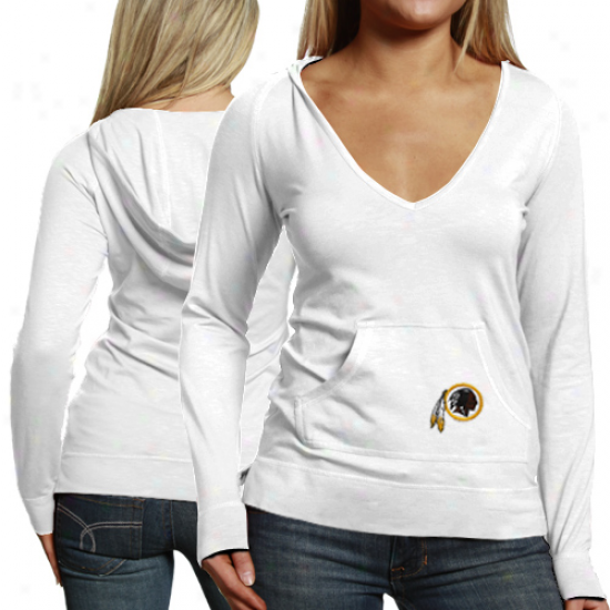 Cutter & Buck Washington Redskins Ladies Social Hooded Premium Long Sleeve T-shirt - White