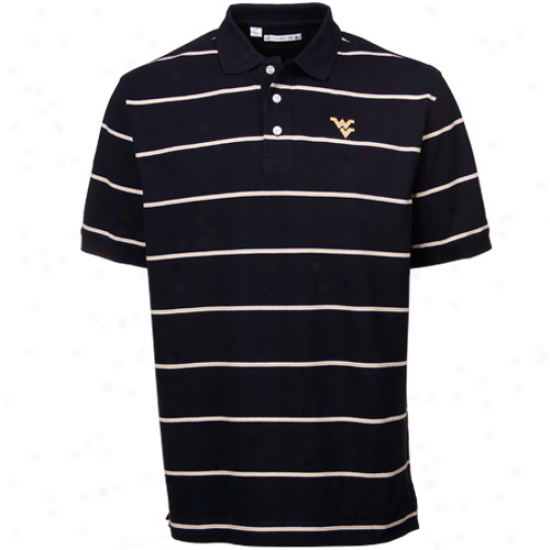 Cutter & Buck West Virginia Mountaineers Navy Blue Cullen Pique Striped Polo