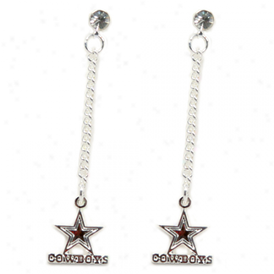 Dallas Cowobys Ladies Silvertone Dangle Charm Post Earrings