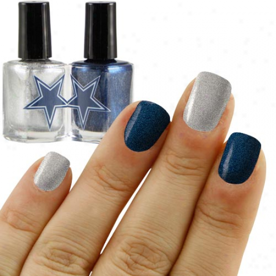 Dallas Cowboys Navy Blue-silver 2-pack Nail Polish