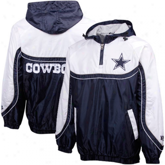 Dallas Cowboys Navy Blue-white Mini Poly Ripstop Quarter Zip Pullover Jacket