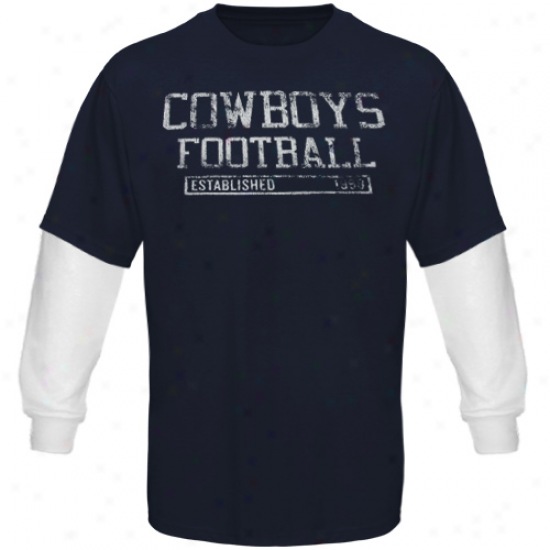 Dallas Cowboys Stickball Double Layer Long Sleeve T-shirt - Navy Biue