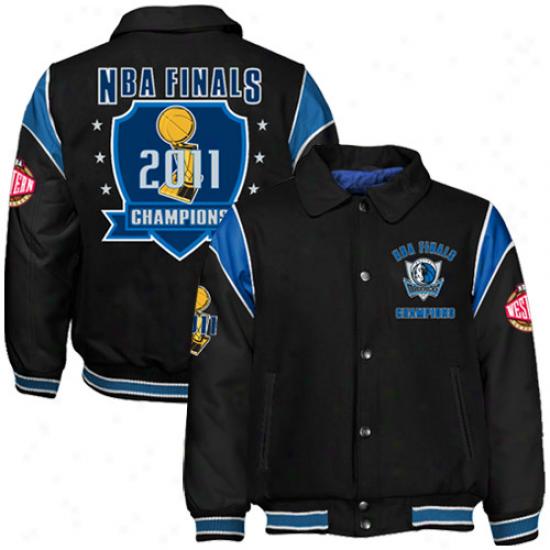 Dallas Mavericks 2011 Nba Champions Black Wool/leather Full Button Jacket