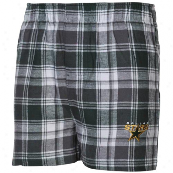 Dallas Stars Green-gray Plaid Legend Flannel Boxer Shorts