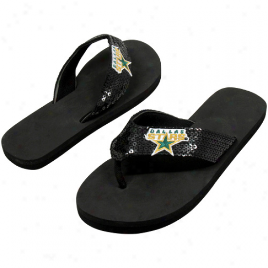 Dallas Stars Women's Sequin Strap Flip Flops - Black