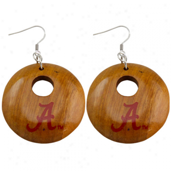 Dayna U Alabama Crimson Current Round Wooden Earrings