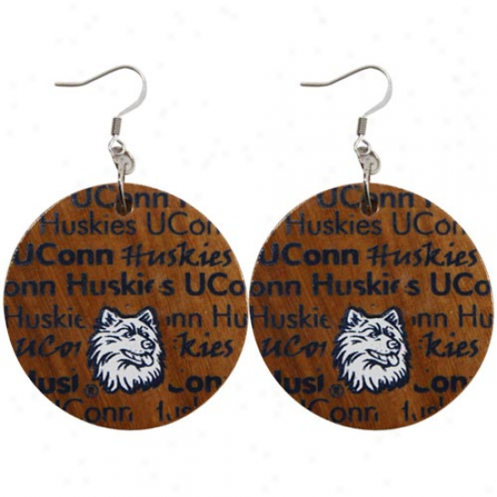 Dayna U Connecticut Huskies (uconn) Infinity Round Wooden Earringq
