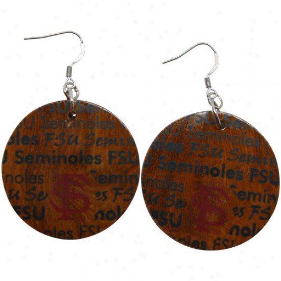 Dayna U Florida State Semminoles (fsu) Absoluteness Round Wooden Earrings