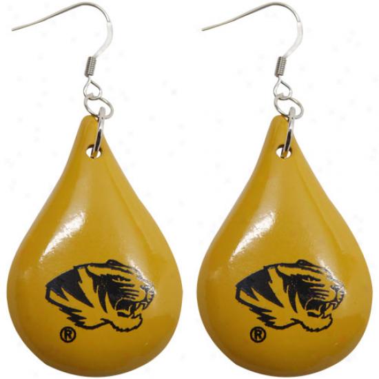 Dayna U Missouri Tigers Gold Tear Drop Wooden Earrings