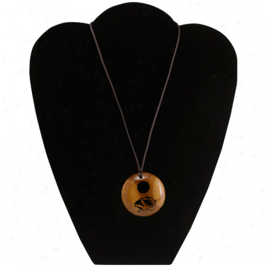 Dayna U Missouri Tigers Round Wooden Necklace