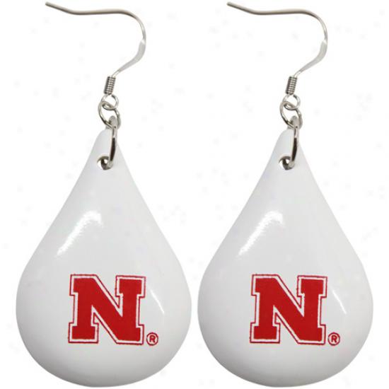 Dayna U Nebraska Cornhuskers White Tear Drop Wooden Earrings
