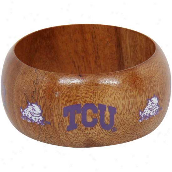 Dayna U Texas Christian Horned Frogs (tcu) Ladies Wpoden Bangle Bracelet