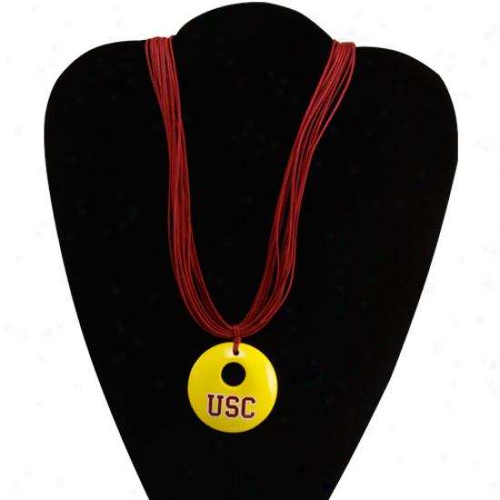 Dayna U Usc Trojans Ladies Gold-cardinal Multi-strand Team Color Necklace