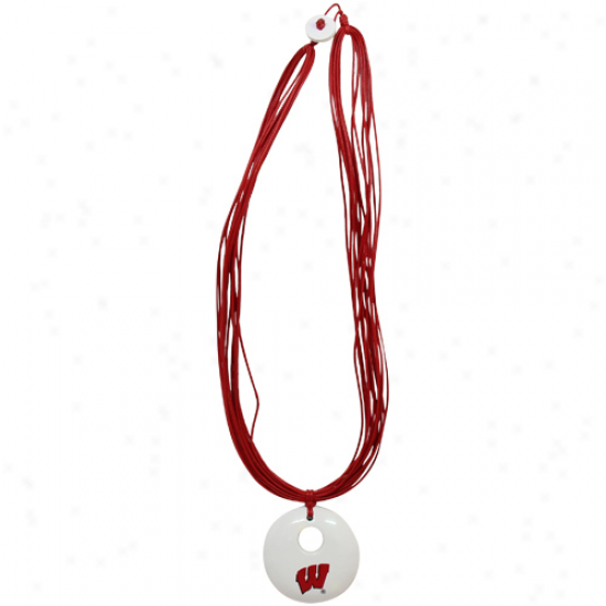 Dayna U Wisconsin Badgers Ladies White-cardinal Multi-strand Team Colod Necklace