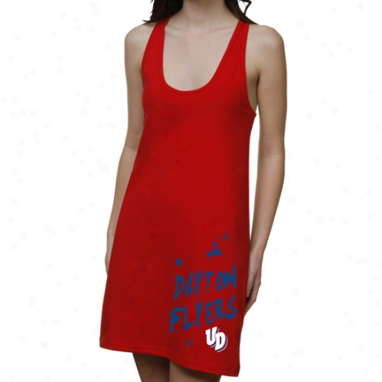Dayton Flyers Ladies Paint Strokes Junior's Racerback Dress - Red