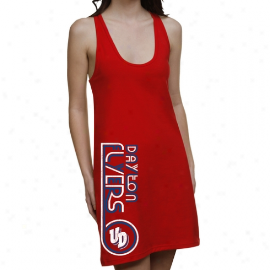 Dayton Flyers Ladies Retro Junior's Racerback Dress - Red