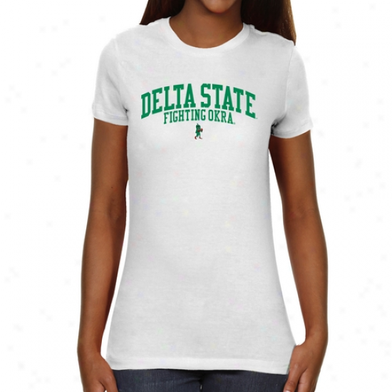 Delta State Fighting Okra Ladies Team Arch Slim Fit T-shirt - Whitw
