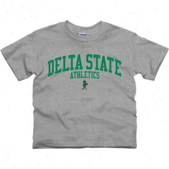 Delta State Fighting Okra Youth Athletics T-shirt - Ash