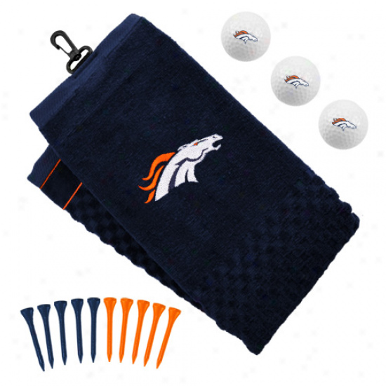 Denver Broncos Embroidered Golf Towel, Golf Balls  &Multicolored Tees Gift Set
