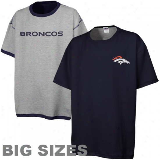 Denver Broncos Mens Big Sizes Revresible T-shirt - Navy Blue-ash