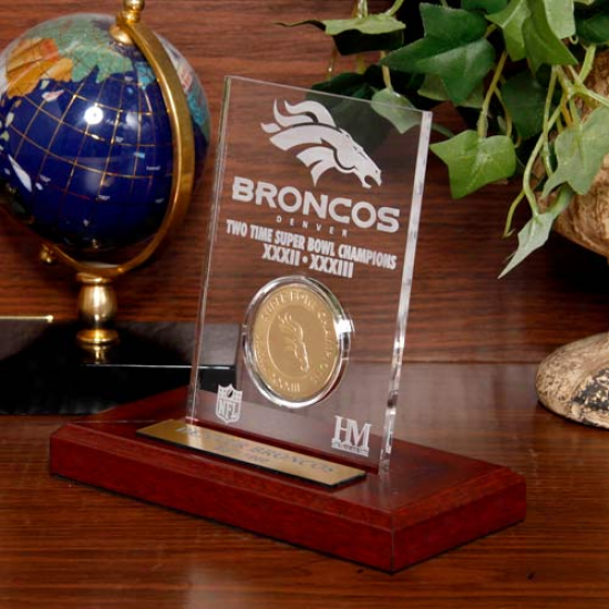 Denver Broncos Super Bowl Champions Engraved Acrylic With 24kt Gold Champions Coin