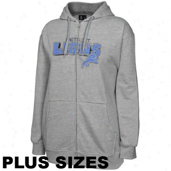 Detroit Lions Ladies Ash Football Classic Iii Plus Sizes Full Zip Hoodie Sweatshirt