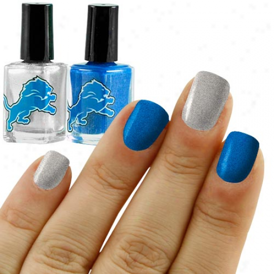 Detroit Lions Light Blue-silver 2-pack Nail Polish