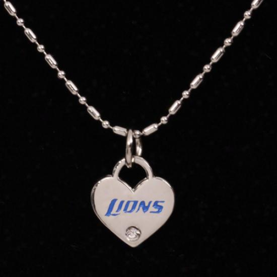 Detroit Lions Mini Heart 18'' Necklace