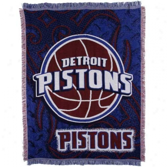 Detroit Pistons 48'' X 60'' Royal Blue Tattoo Jacquard Woven Blanket Throw