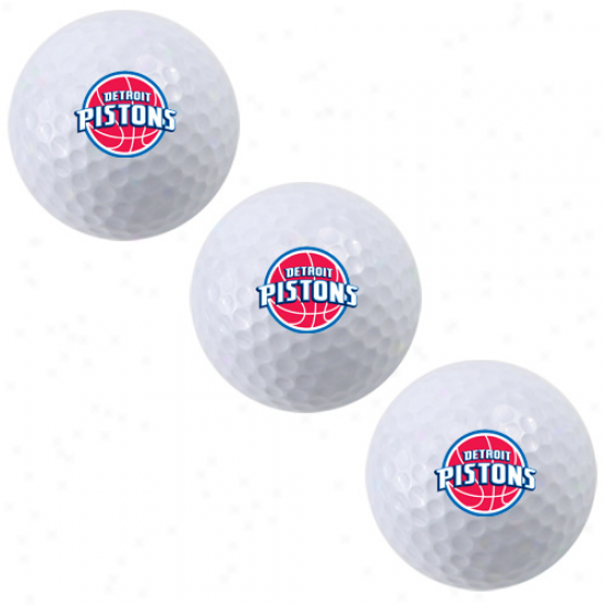Detroit Pistons White 3-pack Golf Balls