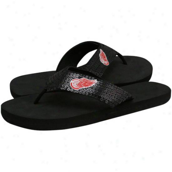 Detroit Red Wings Ladies Black Sequin Strap Flip Flopss