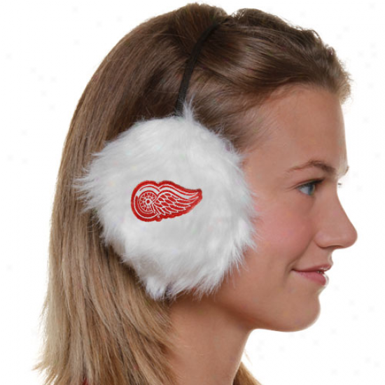 Detroit Red Wings Ladies White Furry Cheer Musical perception Muffs