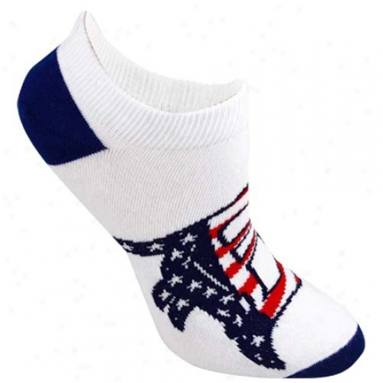 Detroit Tigers Ladies White Patriotic Ankle Socks