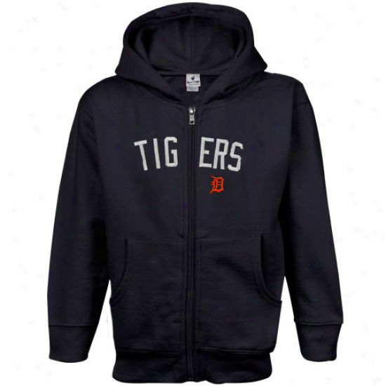 Detroit Tigers Toddler Navy Blue Big Cap Full Zip Hoodie Sweatshirt